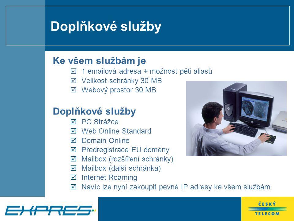 Doplňkové služby Ke všem službám je  1 emailová adresa + možnost pěti aliasů  Velikost schránky 30 MB  Webový prostor 30 MB Doplňkové služby  PC Strážce  Web Online Standard  Domain Online  Předregistrace EU domény  Mailbox (rozšíření schránky)  Mailbox (další schránka)  Internet Roaming  Navíc lze nyní zakoupit pevné IP adresy ke všem službám