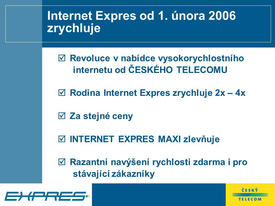 Nové produkty pro domácnosti a malé firmy IE Impuls IE Ideal IE Sprint IE Maxi 399 Kč 599 Kč 799 Kč 1 199 Kč 512 / 128 2048 / 256 3072 / 256 4096 / 512 10 x rychlejší, než dial-up 40 x rychlejší, než dial-up 60 x rychlejší, než dial-up 80 x rychlejší, než dial-up Web, mail, chat, nákupy, homebanking Hudba, software fotografie, internetová rádia On-line hry, internetová TV, video Plné využití všech možností dnešního internetu Ceny jsou uvedeny bez DPH