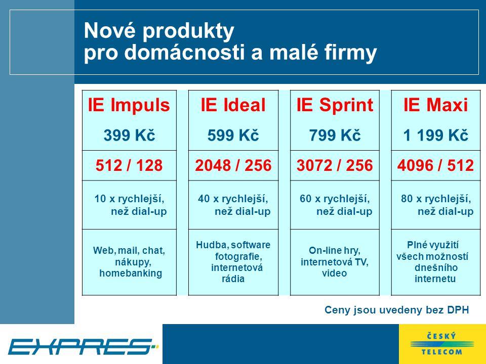 Nové produkty pro firmy a internetové nadšence IE Extreme 512 IE Extreme 2048 IE Extreme 3072 IE Extreme 4096 899 Kč 1 099 Kč 1 399 Kč 1 799 Kč 512 / 128 2048 / 256 3072 / 256 4096 / 512 Neomezená data 1 PC 2 - 4 PC 4 – 6 PC počítačová síť Ceny jsou uvedeny bez DPH