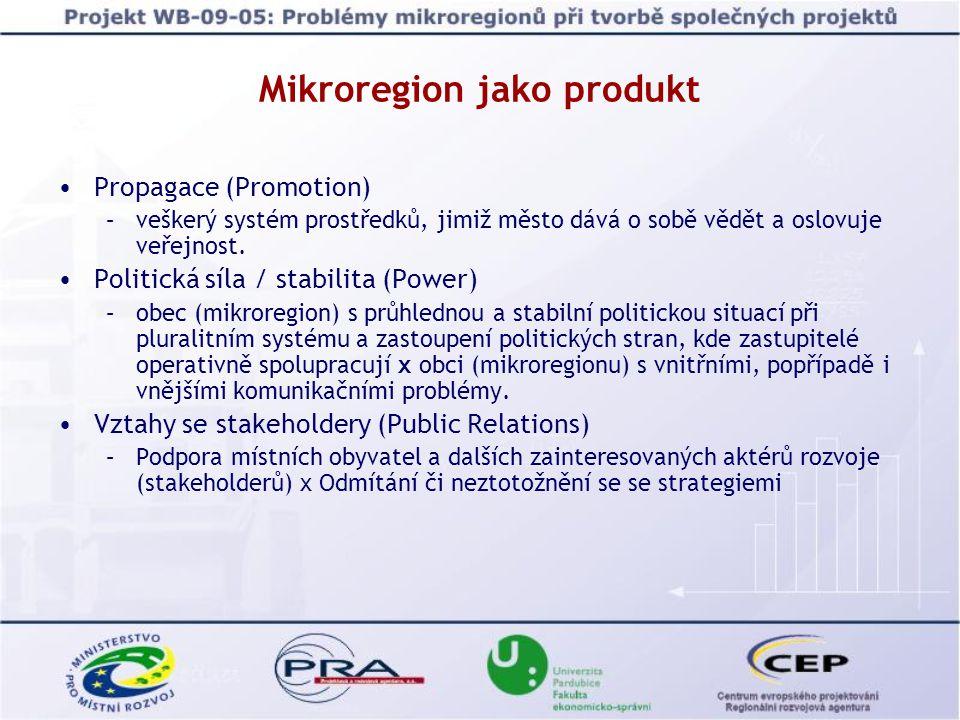 Propagace (Promotion) –veškerý systém prostředků, jimiž město dává o sobě vědět a oslovuje veřejnost. Politická síla / stabilita (Power) –obec (mikror