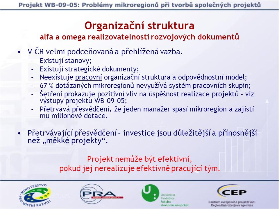Organizační struktura alfa a omega realizovatelnosti rozvojových dokumentů V ČR velmi podceňovaná a přehlížená vazba. –Existují stanovy; –Existují str