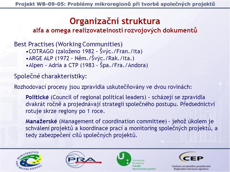 Best Practises (Working Communities) COTRAGO (založeno 1982 – Švýc./Fran./Ita) ARGE ALP (1972 – Něm./Švýc./Rak./Ita.) Alpen – Adria a CTP (1983 – Špa./Fra./Andora) Společné charakteristiky: Rozhodovací procesy jsou zpravidla uskutečňovány ve dvou rovinách: Politické (Council of regional political leaders) – scházejí se zpravidla dvakrát ročně a projednávají strategii společného postupu.