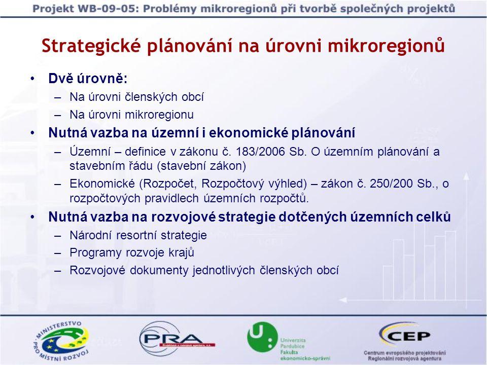 Strategické plánování na úrovni mikroregionů Dvě úrovně: –Na úrovni členských obcí –Na úrovni mikroregionu Nutná vazba na územní i ekonomické plánován