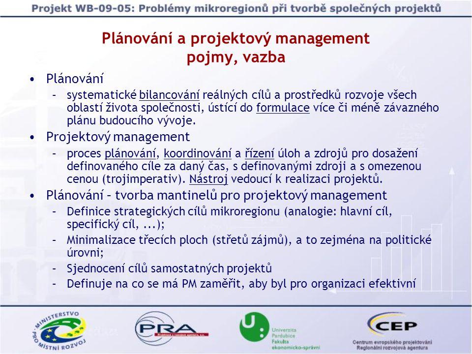 Plánování a projektový management pojmy, vazba Plánování –systematické bilancování reálných cílů a prostředků rozvoje všech oblastí života společnosti, ústící do formulace více či méně závazného plánu budoucího vývoje.