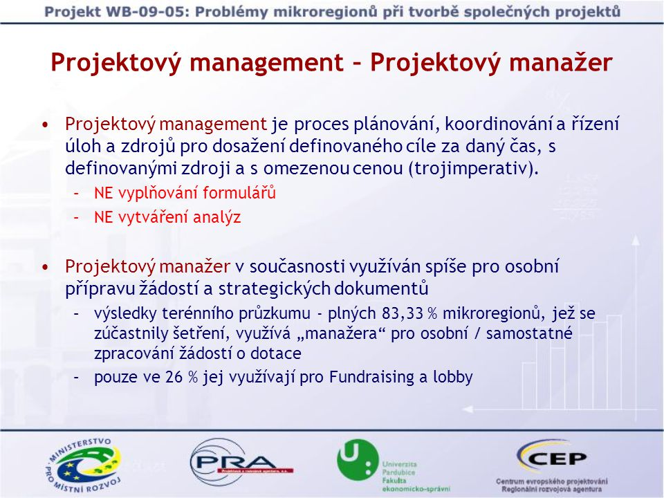 Projektový management – Projektový manažer Projektový management je proces plánování, koordinování a řízení úloh a zdrojů pro dosažení definovaného cíle za daný čas, s definovanými zdroji a s omezenou cenou (trojimperativ).