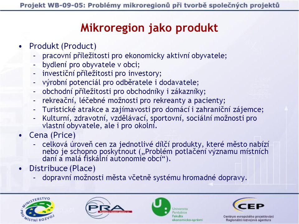 Mikroregion jako produkt Produkt (Product) –pracovní příležitosti pro ekonomicky aktivní obyvatele; –bydlení pro obyvatele v obci; –investiční příležitosti pro investory; –výrobní potenciál pro odběratele i dodavatele; –obchodní příležitosti pro obchodníky i zákazníky; –rekreační, léčebné možnosti pro rekreanty a pacienty; –Turistické atrakce a zajímavosti pro domácí i zahraniční zájemce; –Kulturní, zdravotní, vzdělávací, sportovní, sociální možnosti pro vlastní obyvatele, ale i pro okolní.