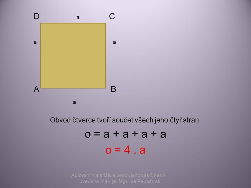D a C a A B a Obvod čtverce tvoří součet všech jeho čtyř stran. o = a + a + a + a o = 4. a Autorem materiálu a všech jeho částí, není-li uvedeno jinak