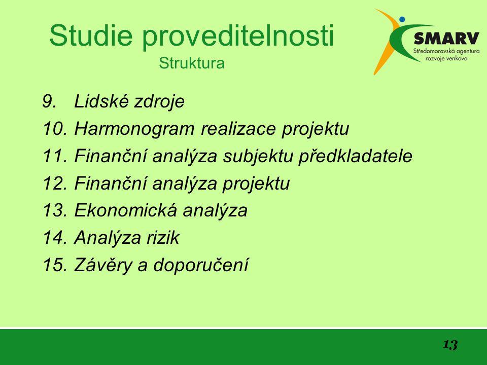 13 Studie proveditelnosti Struktura 9.Lidské zdroje 10.Harmonogram realizace projektu 11.Finanční analýza subjektu předkladatele 12.Finanční analýza projektu 13.Ekonomická analýza 14.Analýza rizik 15.Závěry a doporučení