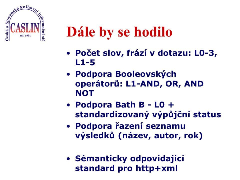 Dále by se hodilo Počet slov, frází v dotazu: L0-3, L1-5 Podpora Booleovských operátorů: L1-AND, OR, AND NOT Podpora Bath B - L0 + standardizovaný výpůjční status Podpora řazení seznamu výsledků (název, autor, rok) Sémanticky odpovídající standard pro http+xml