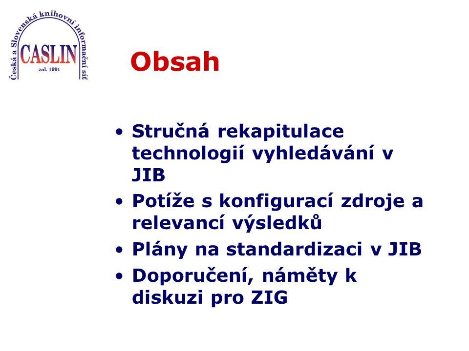Obsah Stručná rekapitulace technologií vyhledávání v JIB Potíže s konfigurací zdroje a relevancí výsledků Plány na standardizaci v JIB Doporučení, náměty k diskuzi pro ZIG