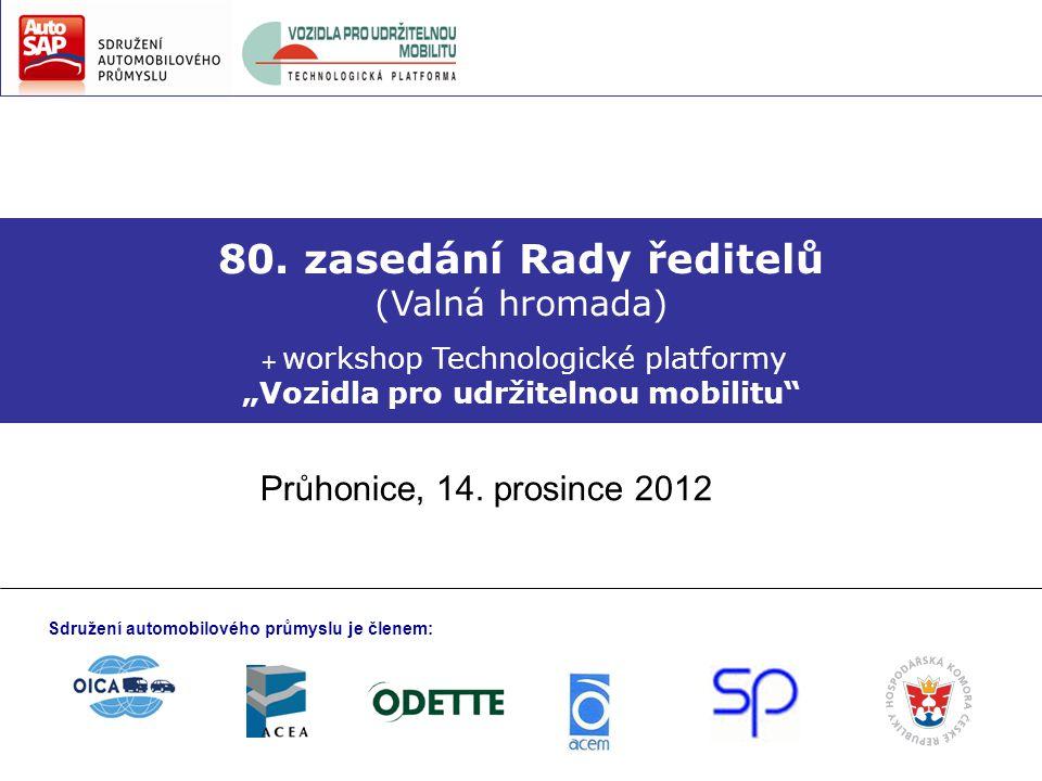 """80. zasedání Rady ředitelů (Valná hromada) + workshop Technologické platformy """"Vozidla pro udržitelnou mobilitu"""" Průhonice, 14. prosince 2012 Sdružení"""