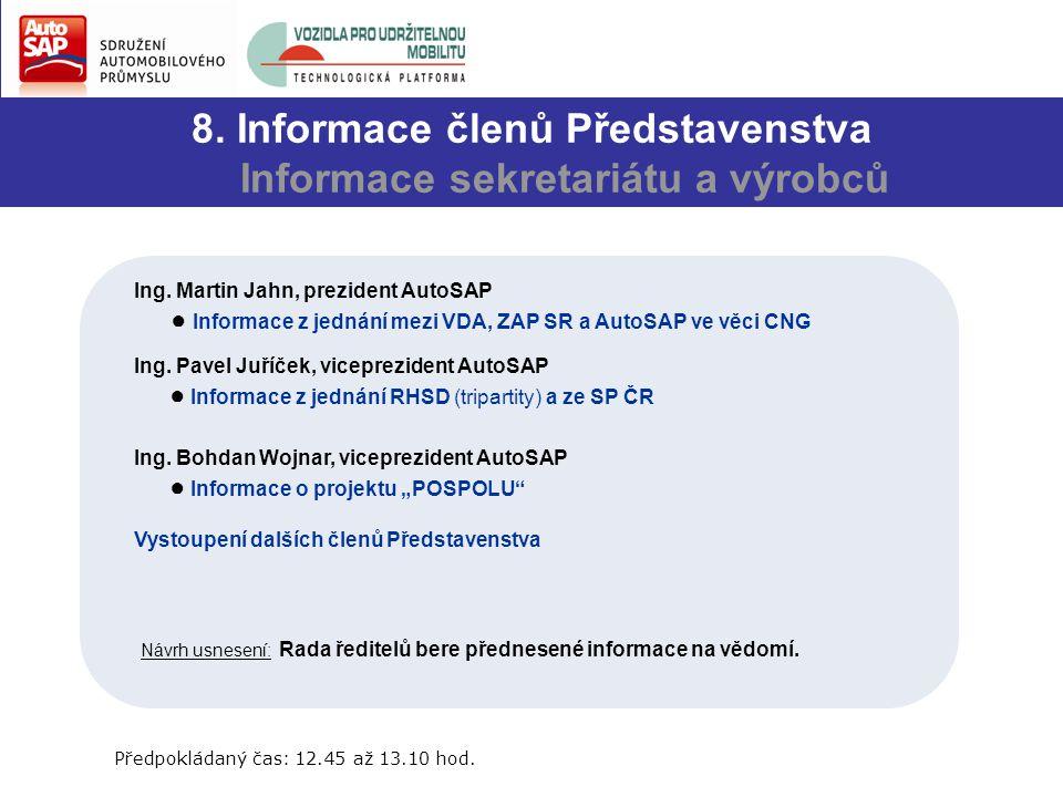 8. Informace členů Představenstva Informace sekretariátu a výrobců Ing.