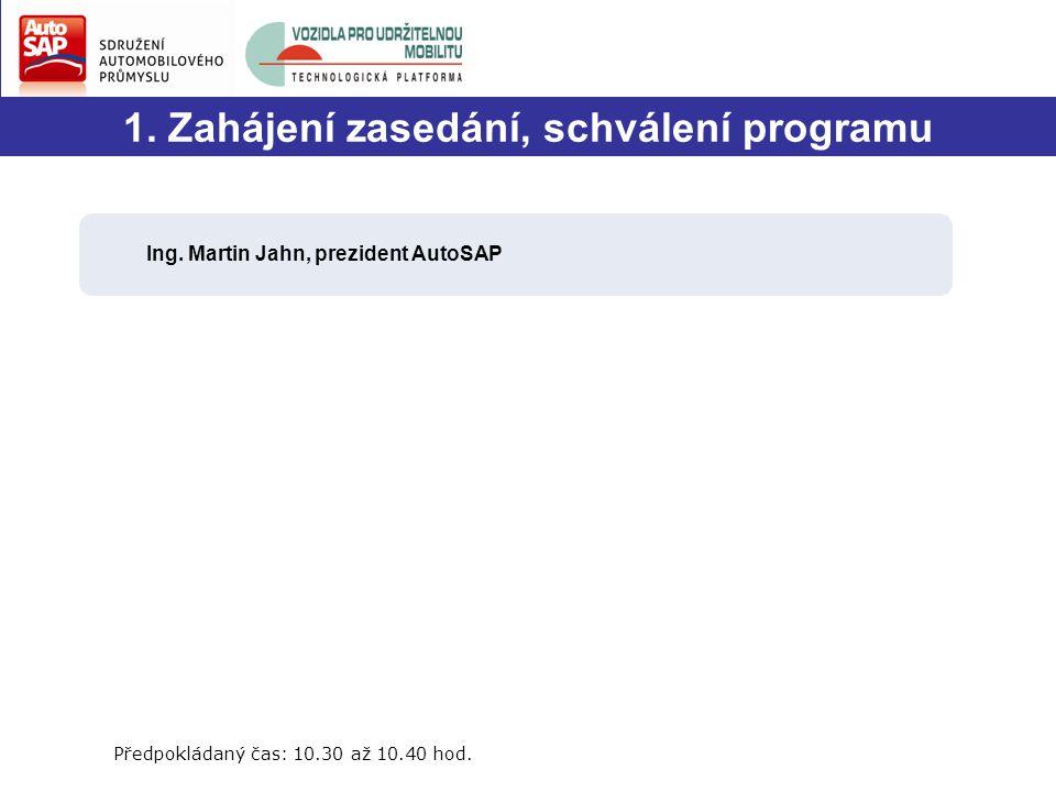 1. Zahájení zasedání, schválení programu Ing.