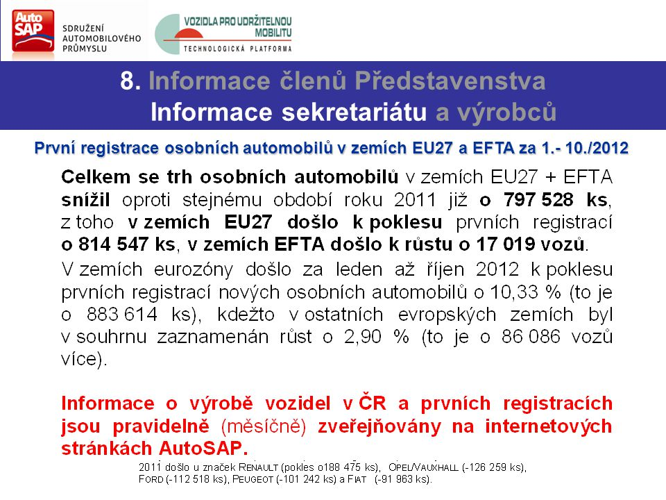 8. Informace členů Představenstva Informace sekretariátu a výrobců První registrace osobních automobilů v zemích EU27 a EFTA za 1.- 10./2012