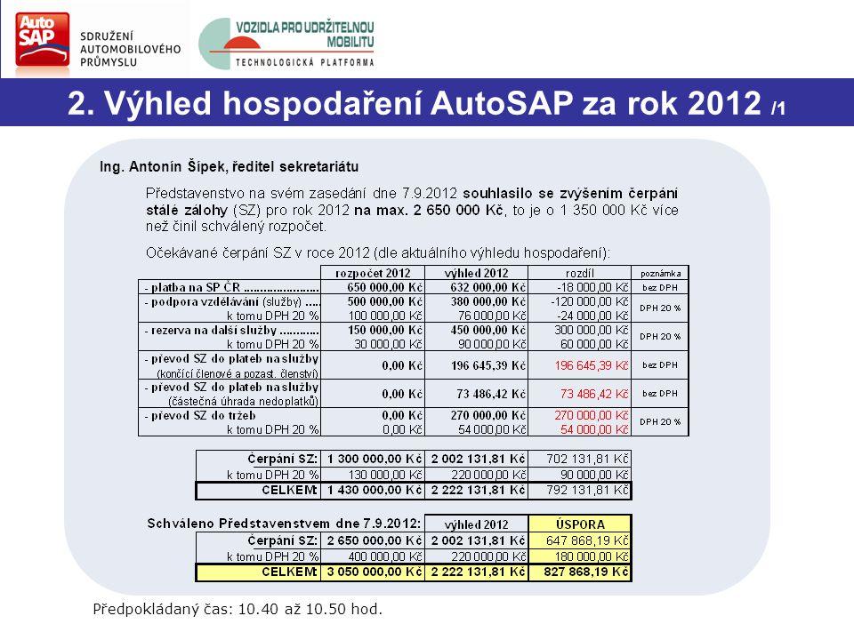 2.Výhled hospodaření AutoSAP za rok 2012 /2 Předpokládaný čas: 10.40 až 10.50 hod.