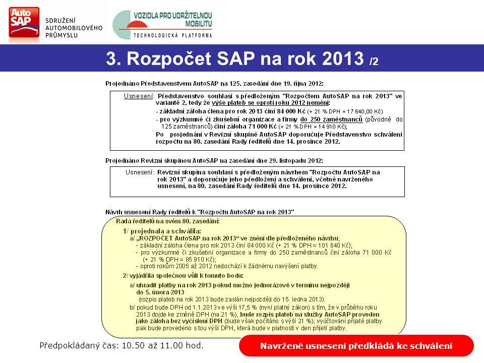 3. Rozpočet SAP na rok 2013 /2 Diskuze, dotazyNavržené usnesení předkládá ke schválení Předpokládaný čas: 10.50 až 11.00 hod.
