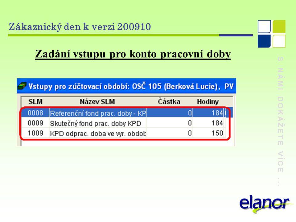S NÁMI DOKÁŽETE VÍCE... Zákaznický den k verzi 200910 Zadání vstupu pro konto pracovní doby