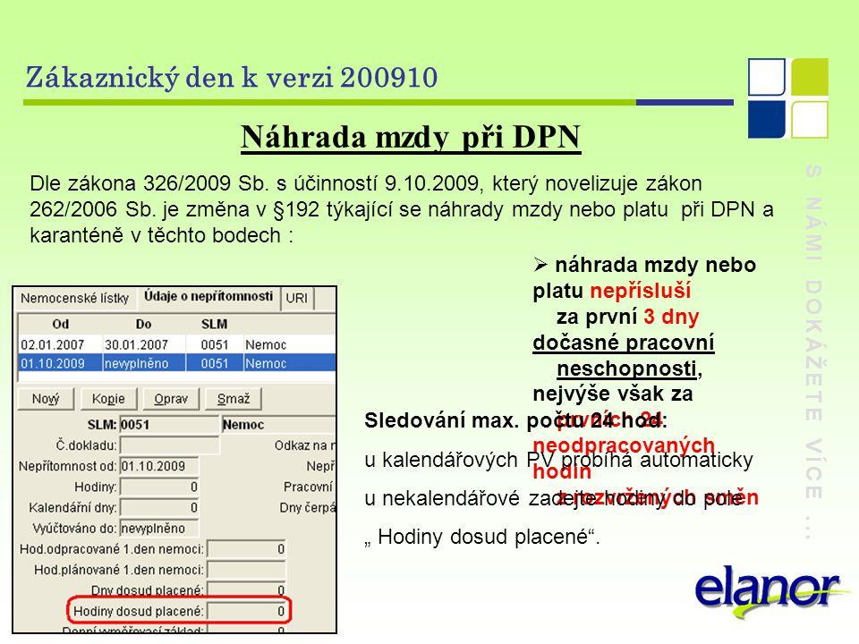 S NÁMI DOKÁŽETE VÍCE... Zákaznický den k verzi 200910 Náhrada mzdy při DPN Dle zákona 326/2009 Sb.