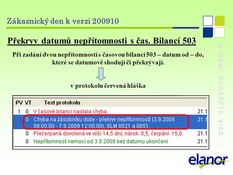 S NÁMI DOKÁŽETE VÍCE... Zákaznický den k verzi 200910 Překryv datumů nepřítomnosti s čas.