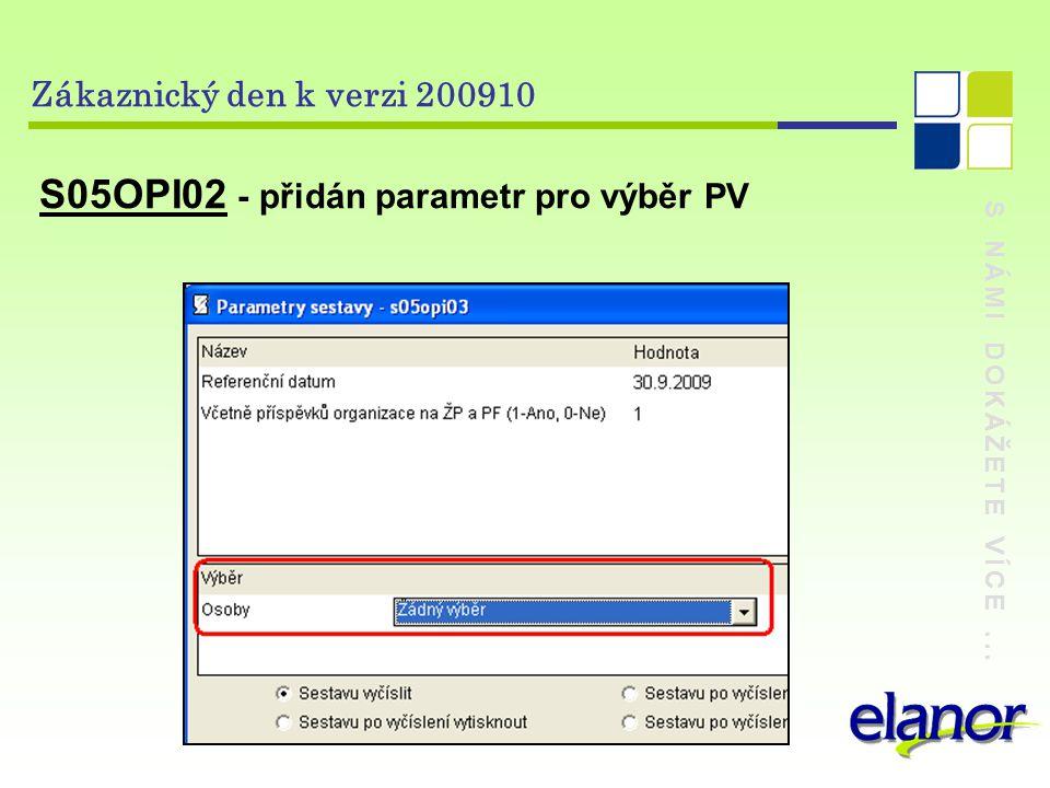 S NÁMI DOKÁŽETE VÍCE... Zákaznický den k verzi 200910 S05OPI02 - přidán parametr pro výběr PV
