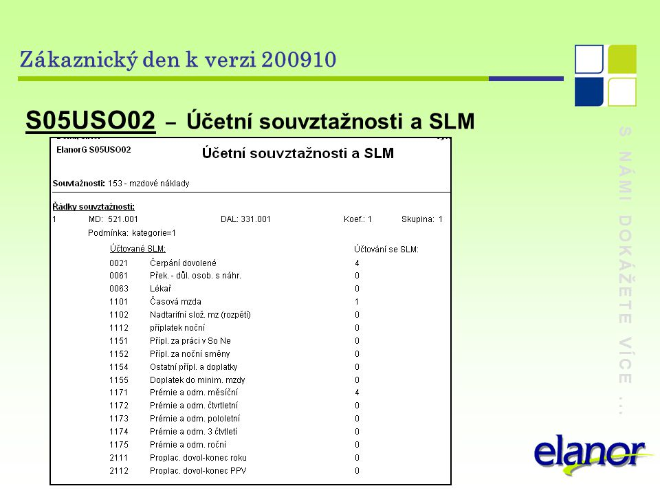 S NÁMI DOKÁŽETE VÍCE... Zákaznický den k verzi 200910 S05USO02 – Účetní souvztažnosti a SLM