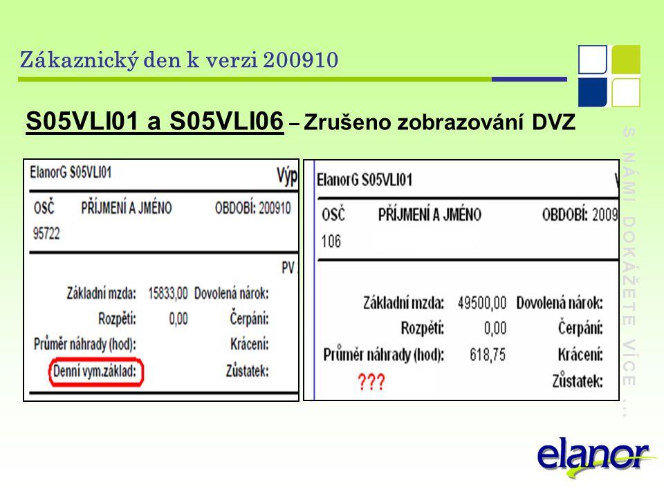 S NÁMI DOKÁŽETE VÍCE... Zákaznický den k verzi 200910 S05VLI01 a S05VLI06 – Zrušeno zobrazování DVZ