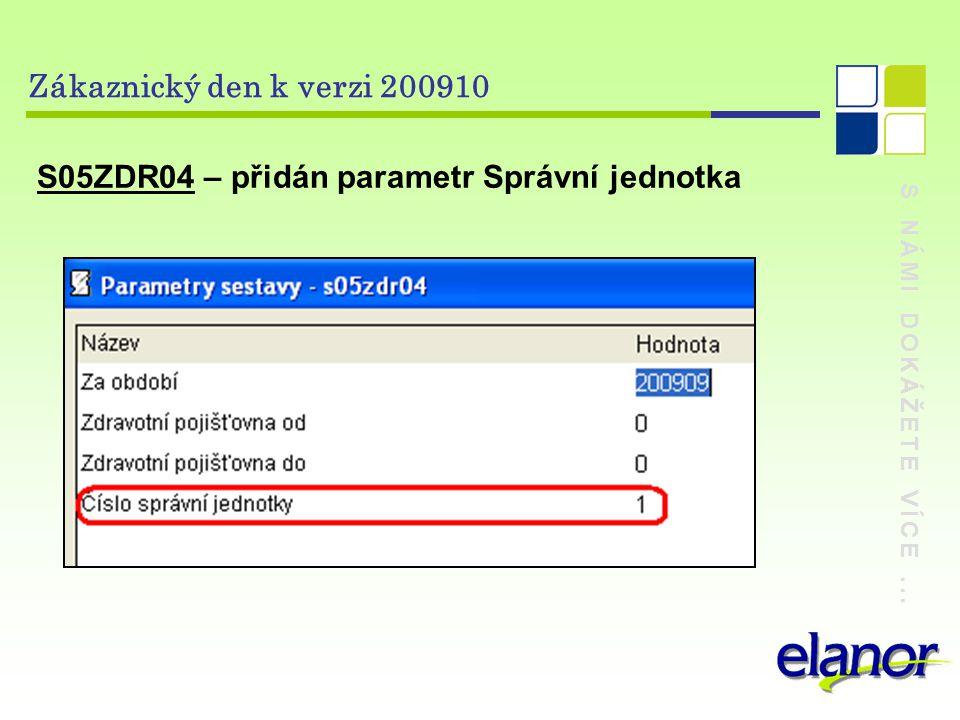 S NÁMI DOKÁŽETE VÍCE... Zákaznický den k verzi 200910 S05ZDR04 – přidán parametr Správní jednotka
