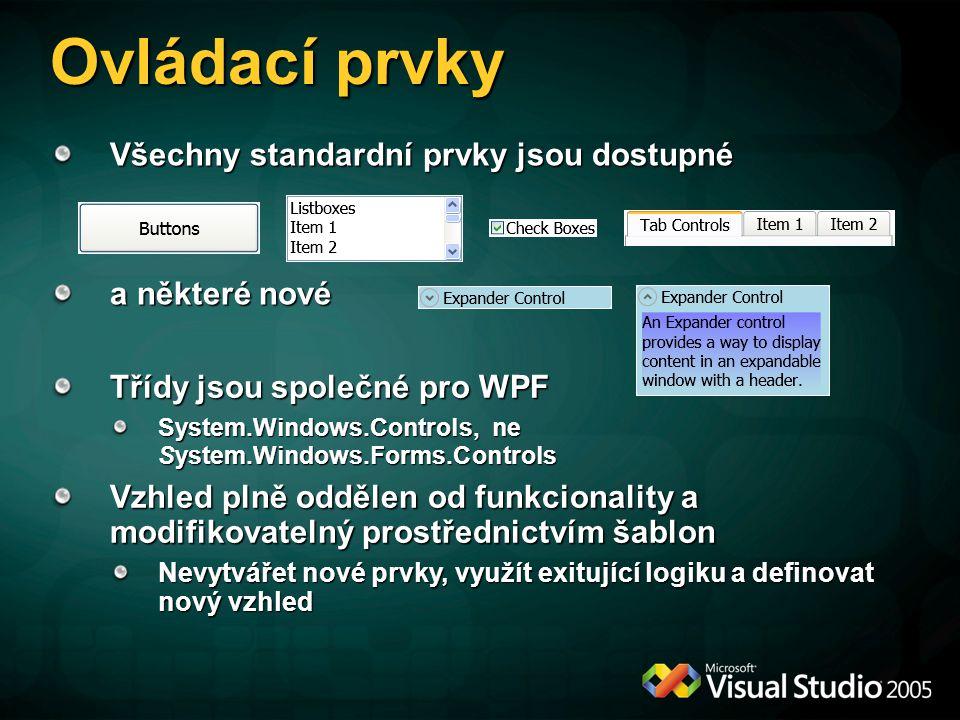 Ovládací prvky Všechny standardní prvky jsou dostupné a některé nové Třídy jsou společné pro WPF System.Windows.Controls, ne System.Windows.Forms.Cont