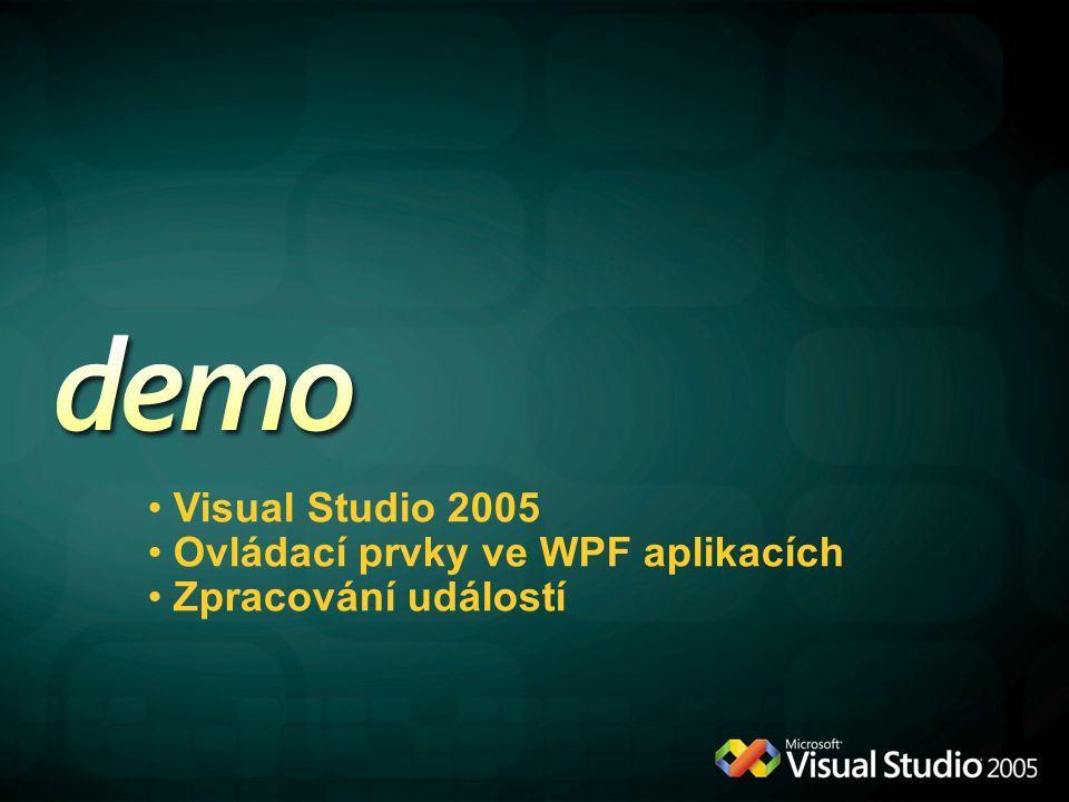 Visual Studio 2005 Ovládací prvky ve WPF aplikacích Zpracování událostí