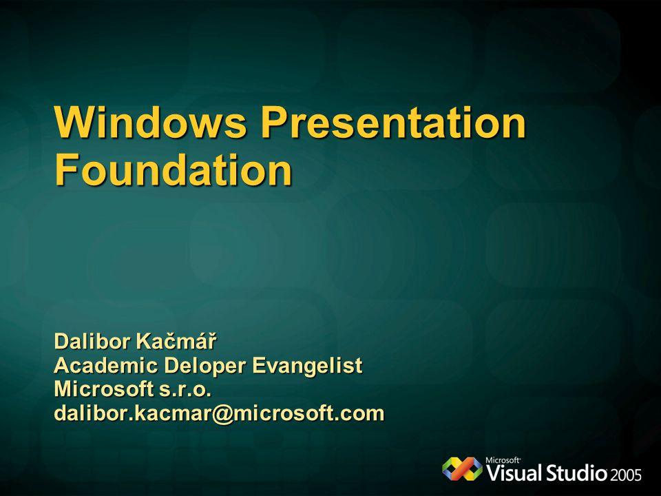 Windows Presentation Foundation Dalibor Kačmář Academic Deloper Evangelist Microsoft s.r.o. dalibor.kacmar@microsoft.com