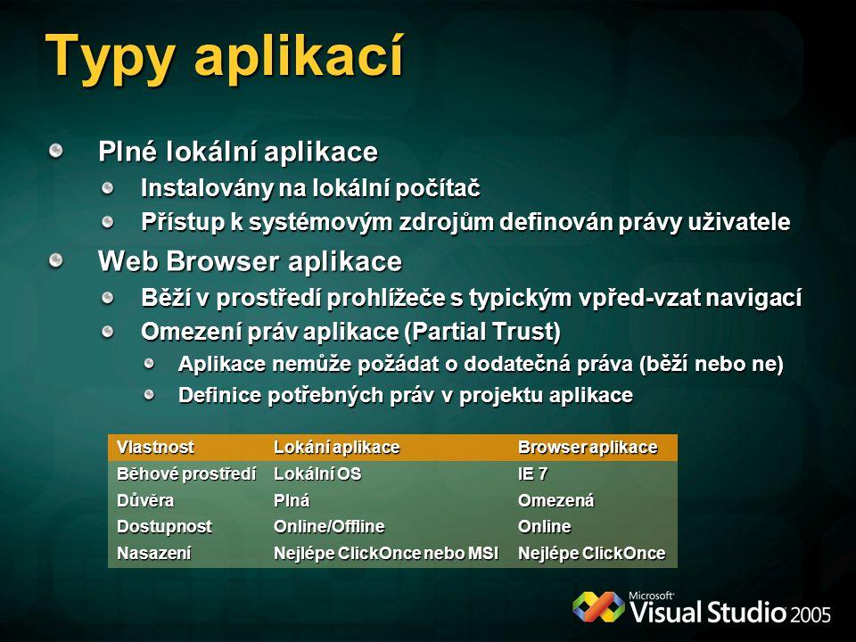 """Instalace ClickOnce Přirozený vývoj """"bezdotykové instalace z.NET 1.x Založeno na HTTP protokolu pro.NET aplikace exe stažen, uložen, spuštěn ClickOnce Podporuje instalaci obou typů aplikací (plné i browser) 2 scénáře nasazení Online/offline Pouze online Odstraňuje problémy předchozí verze; nyní umí Podpora v nástrojích (VS 2005, SDK) Sledování postupu instalace Distribuce jiných souborů než assembly Možnost požádat o vyšší povolení Je vyžadován digitální podpis instalace"""