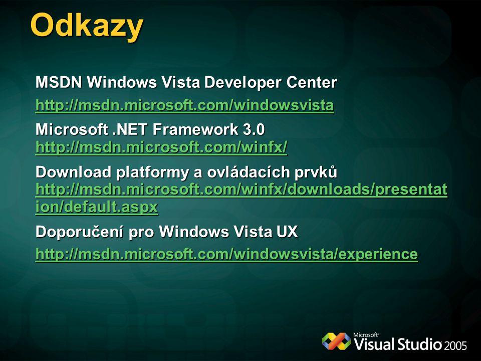 Odkazy MSDN Windows Vista Developer Center http://msdn.microsoft.com/windowsvista Microsoft.NET Framework 3.0 http://msdn.microsoft.com/winfx/ http://