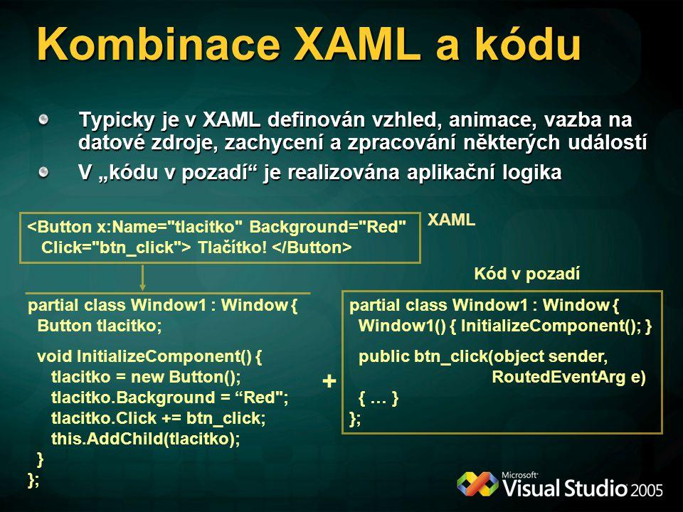 """Kombinace XAML a kódu Typicky je v XAML definován vzhled, animace, vazba na datové zdroje, zachycení a zpracování některých událostí V """"kódu v pozadí"""""""