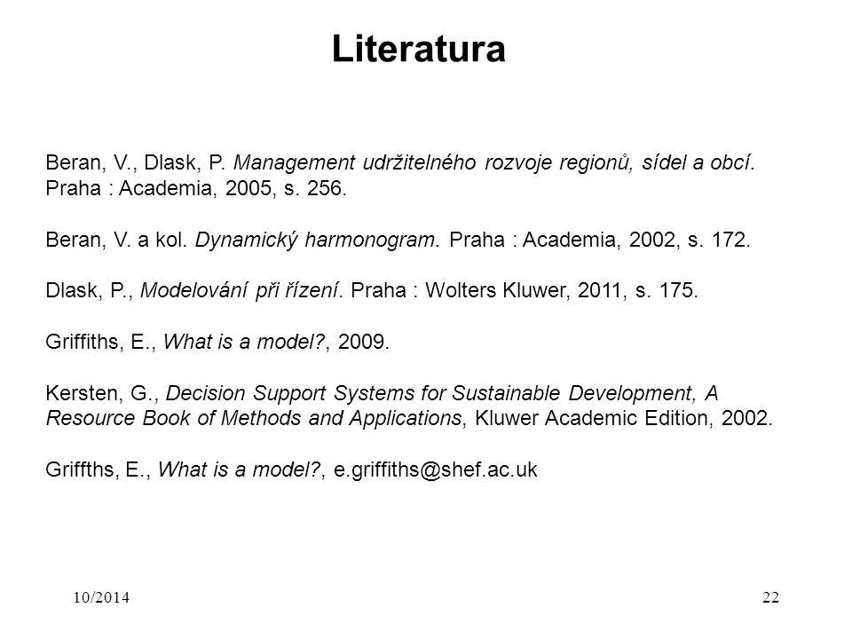 Literatura 10/201422 Beran, V., Dlask, P. Management udržitelného rozvoje regionů, sídel a obcí. Praha : Academia, 2005, s. 256. Beran, V. a kol. Dyna