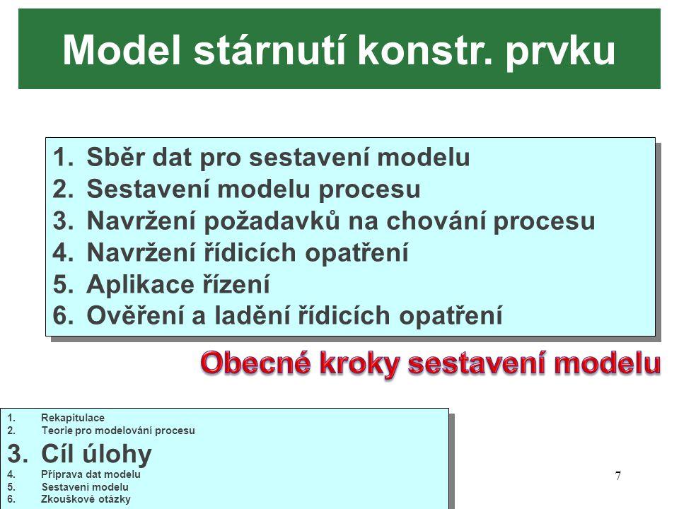 10/20147 Model stárnutí konstr. prvku 1.Sběr dat pro sestavení modelu 2.Sestavení modelu procesu 3.Navržení požadavků na chování procesu 4.Navržení ří