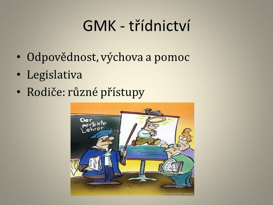 GMK - třídnictví Odpovědnost, výchova a pomoc Legislativa Rodiče: různé přístupy