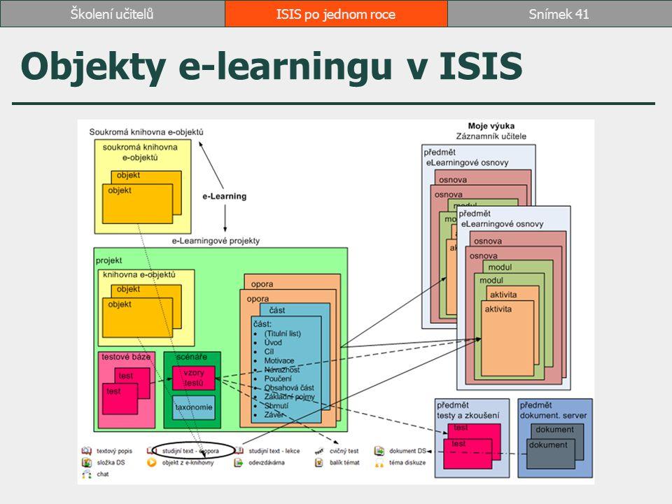 ISIS po jednom roceSnímek 41Školení učitelů Objekty e-learningu v ISIS