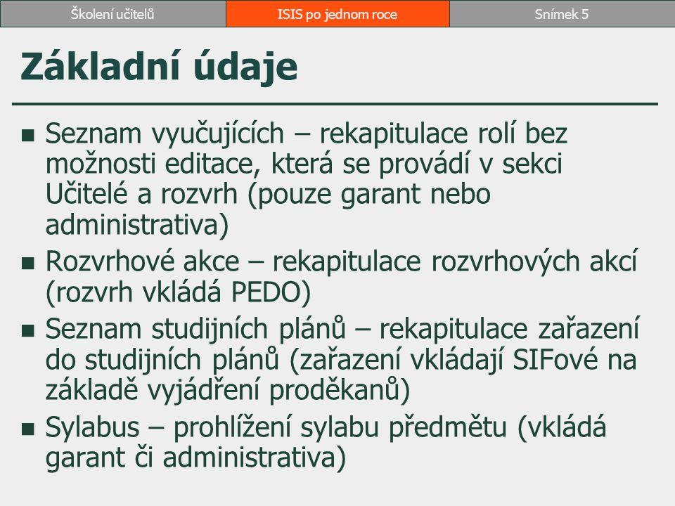 Základní údaje Seznam vyučujících – rekapitulace rolí bez možnosti editace, která se provádí v sekci Učitelé a rozvrh (pouze garant nebo administrativa) Rozvrhové akce – rekapitulace rozvrhových akcí (rozvrh vkládá PEDO) Seznam studijních plánů – rekapitulace zařazení do studijních plánů (zařazení vkládají SIFové na základě vyjádření proděkanů) Sylabus – prohlížení sylabu předmětu (vkládá garant či administrativa) ISIS po jednom roceSnímek 5Školení učitelů