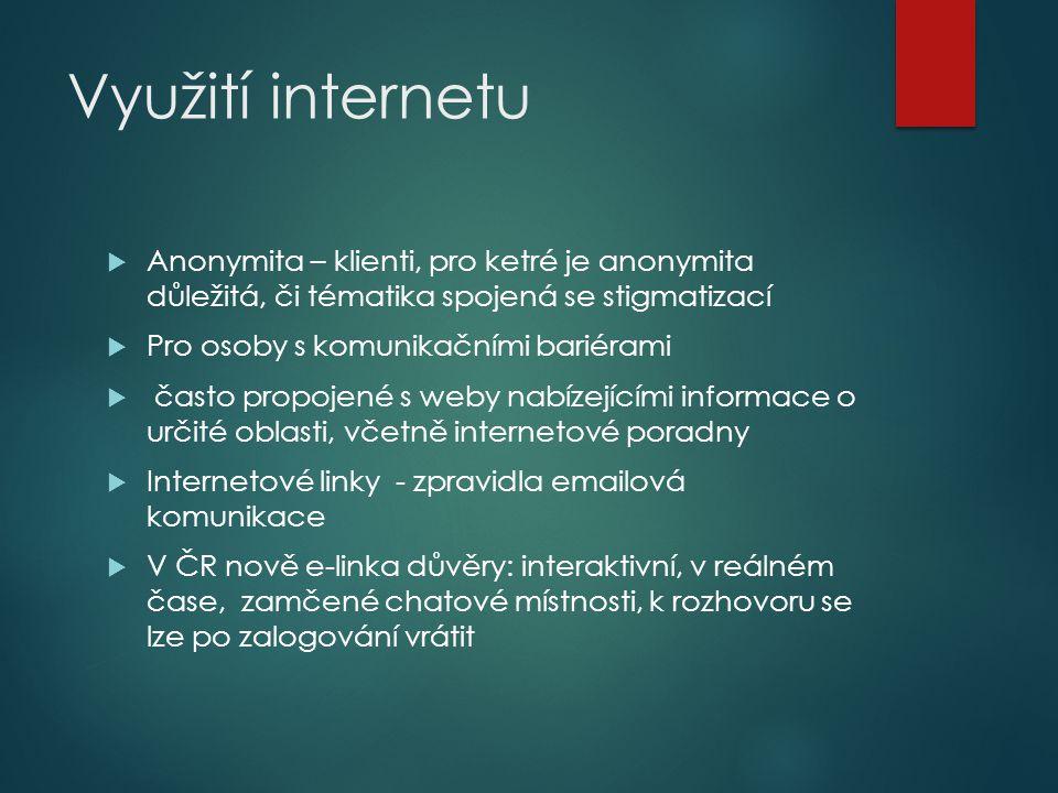 Využití internetu  Anonymita – klienti, pro ketré je anonymita důležitá, či tématika spojená se stigmatizací  Pro osoby s komunikačními bariérami 