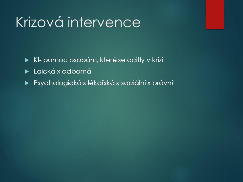  KI- pomoc osobám, které se ocitly v krizi  Laická x odborná  Psychologická x lékařská x sociální x právní