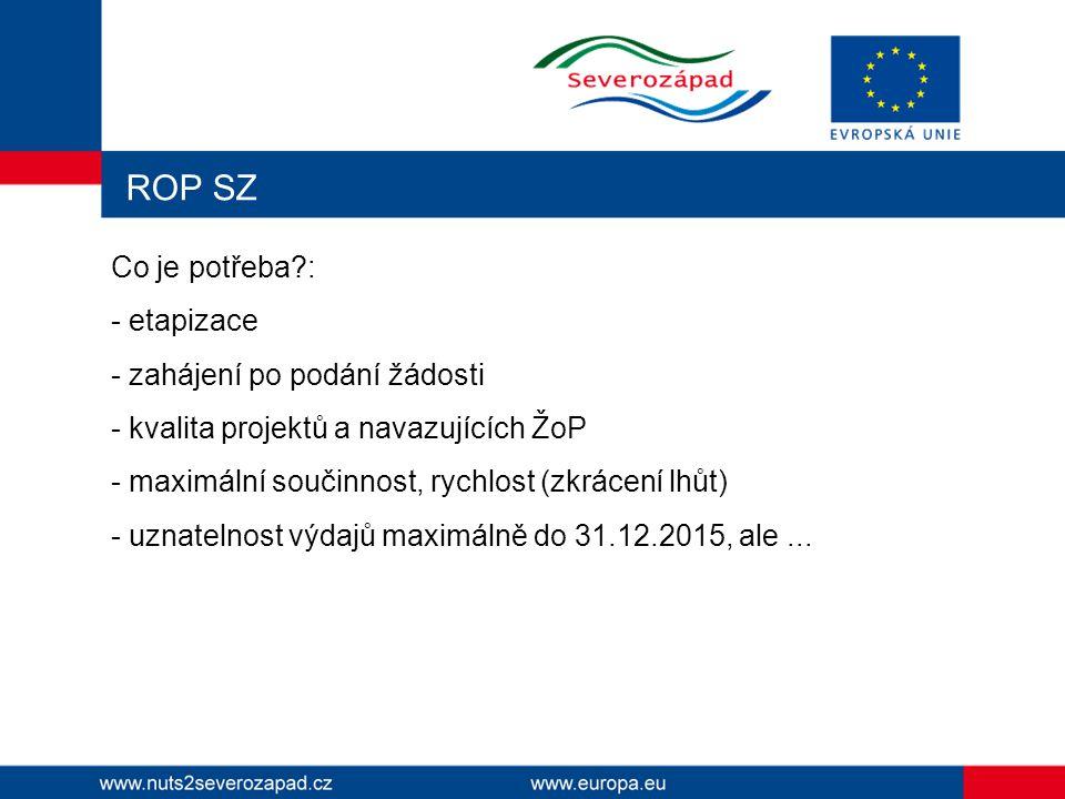 ROP SZ Co je potřeba?: - etapizace - zahájení po podání žádosti - kvalita projektů a navazujících ŽoP - maximální součinnost, rychlost (zkrácení lhůt)
