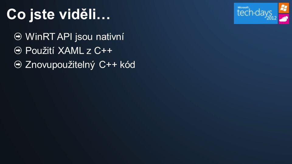 WinRT API jsou nativní Použití XAML z C++ Znovupoužitelný C++ kód Co jste viděli…