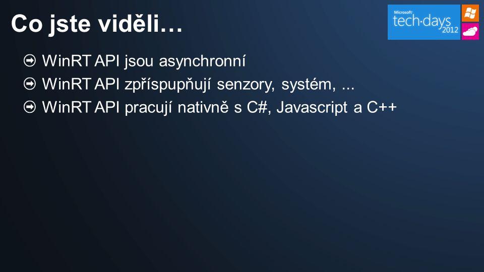WinRT API jsou asynchronní WinRT API zpříspupňují senzory, systém,...