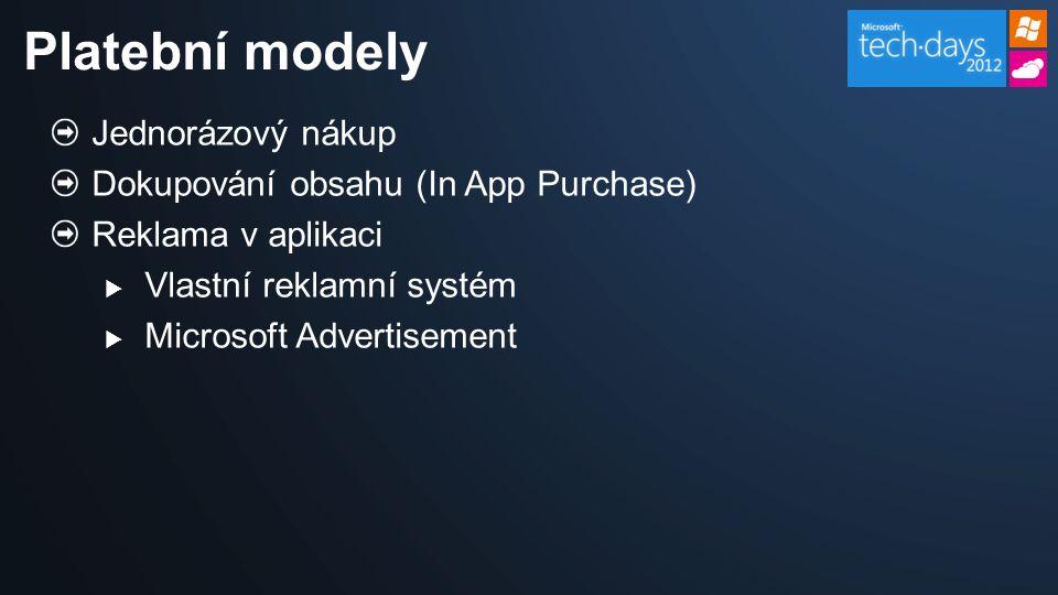 Jednorázový nákup Dokupování obsahu (In App Purchase) Reklama v aplikaci  Vlastní reklamní systém  Microsoft Advertisement Platební modely
