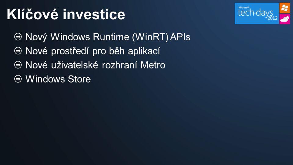 Nový Windows Runtime (WinRT) APIs Nové prostředí pro běh aplikací Nové uživatelské rozhraní Metro Windows Store Klíčové investice