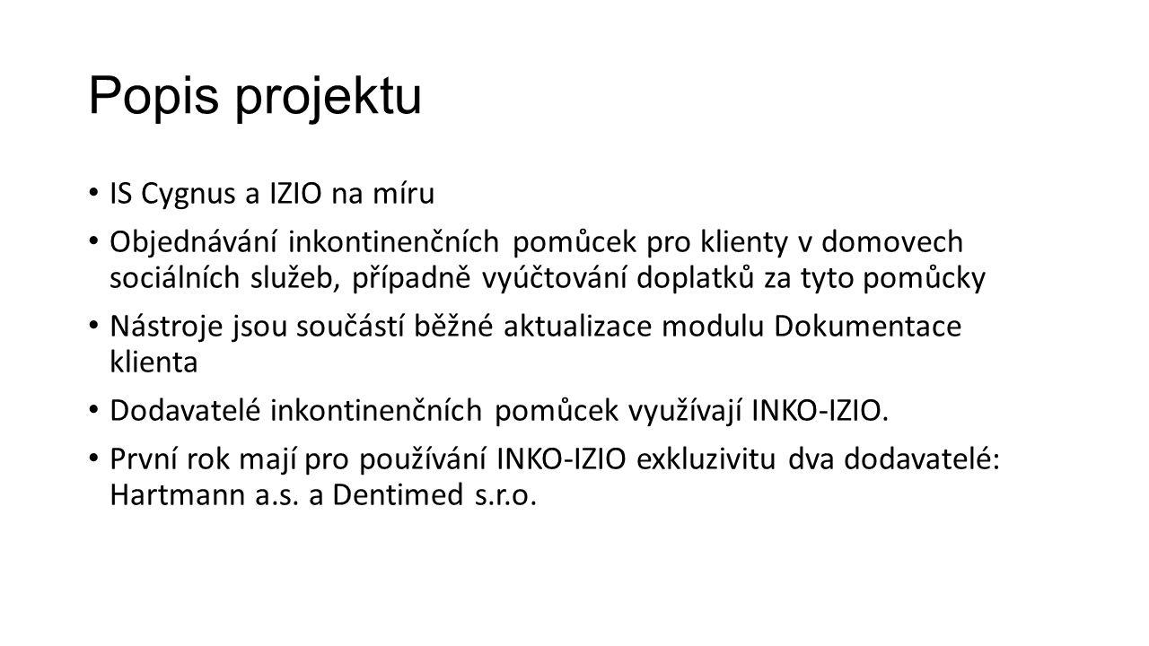 Popis projektu IS Cygnus a IZIO na míru Objednávání inkontinenčních pomůcek pro klienty v domovech sociálních služeb, případně vyúčtování doplatků za
