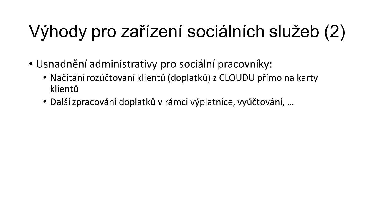 Výhody pro zařízení sociálních služeb (2) Usnadnění administrativy pro sociální pracovníky: Načítání rozúčtování klientů (doplatků) z CLOUDU přímo na