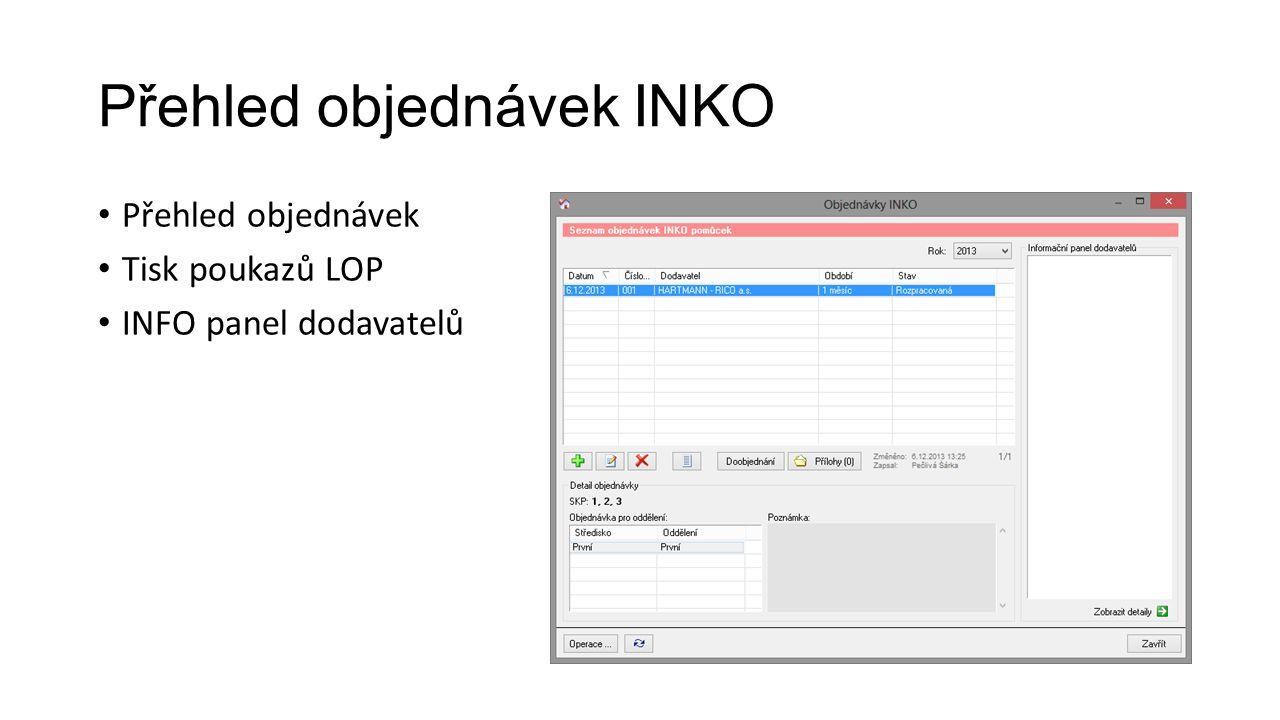 Přehled objednávek INKO Přehled objednávek Tisk poukazů LOP INFO panel dodavatelů