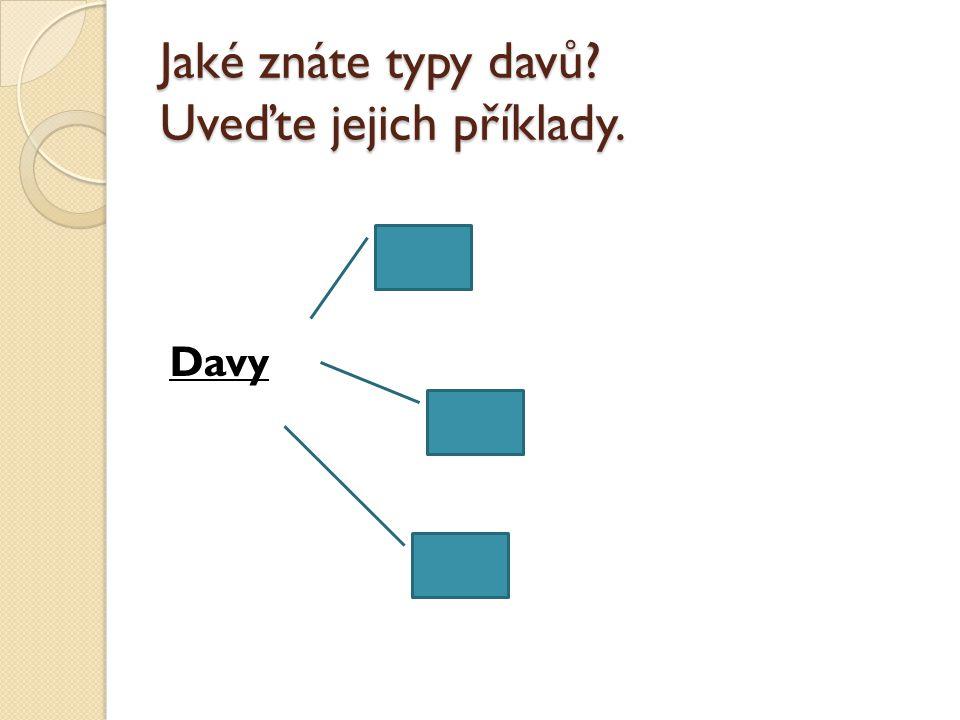 Jaké znáte typy davů Uveďte jejich příklady. Davy