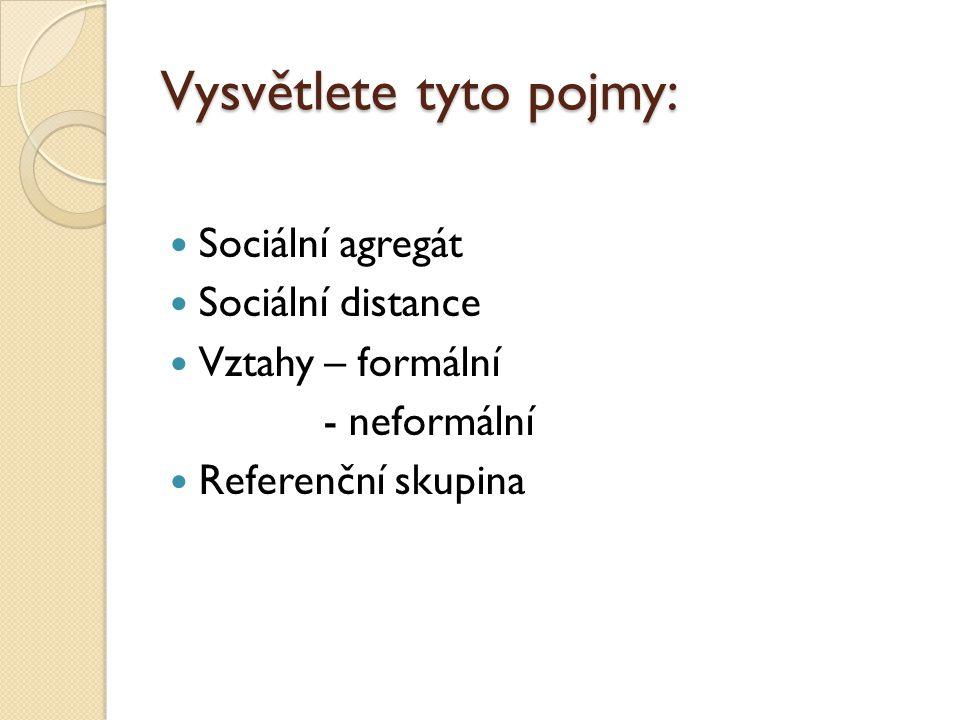 Vysvětlete tyto pojmy: Sociální agregát Sociální distance Vztahy – formální - neformální Referenční skupina